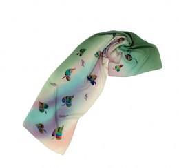 SZ-035 Green Hand Painted Silk Scarf, 170x45 cm