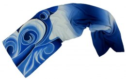 Blue-white Hand Painted Silk Scarf, 170x45 cm
