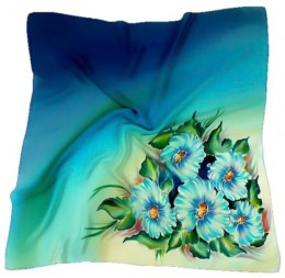 AM-142 Hand-painted silk scarf, 90x90cm