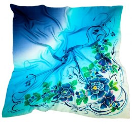 AM-157 Hand-painted silk scarf, 90x90cm