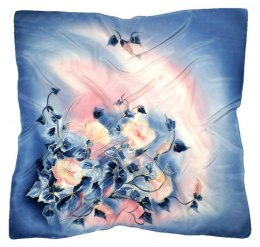 AM-297 Blue Hand Painted Silk Scarf, 90x90cm