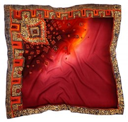 AM-402 Maroon Hand Painted Silk Scarf, 90x90cm