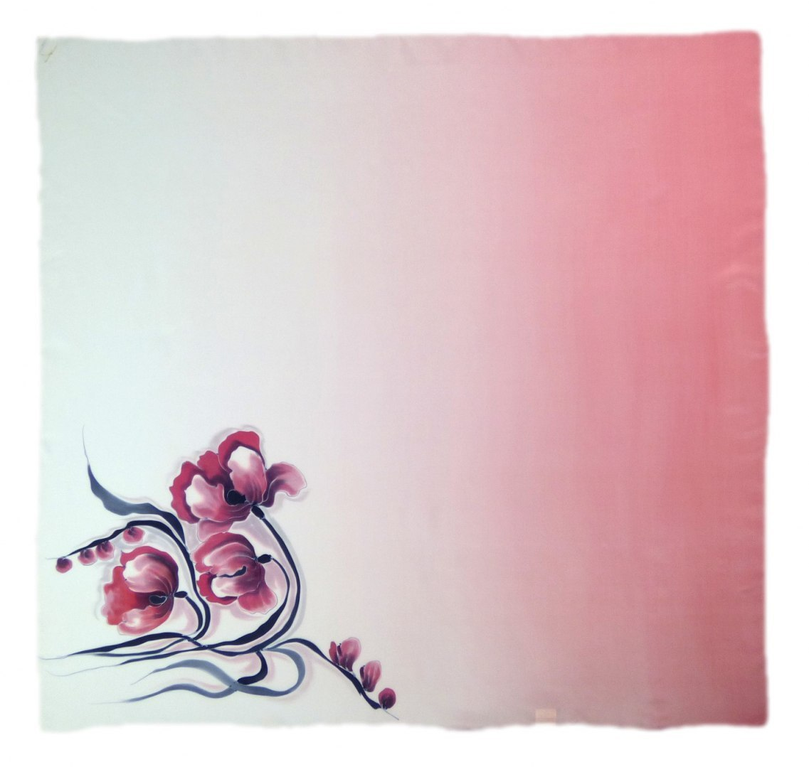 AM-263 Hand-painted silk scarf, 90x90cm