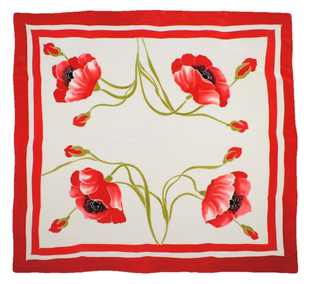 AM-454 Hand-painted silk scarf, 90x90cm