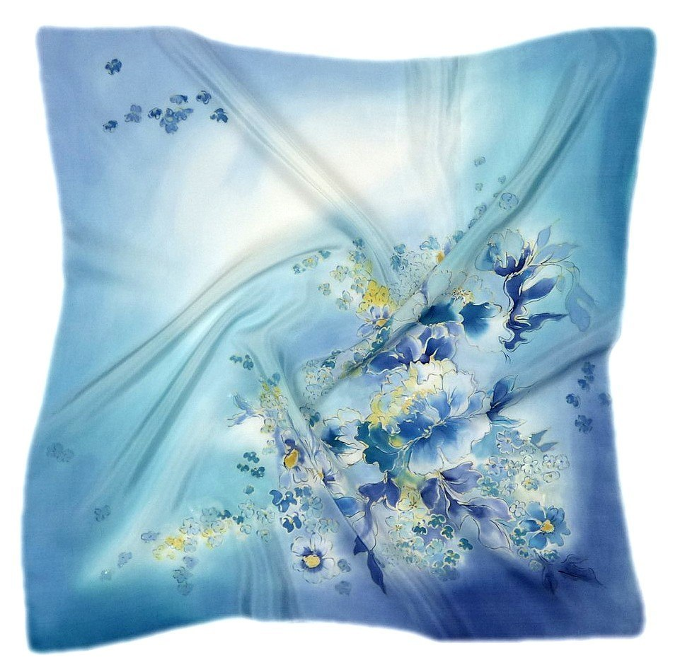 AM-404 Hand-painted silk scarf, 90x90cm (1)