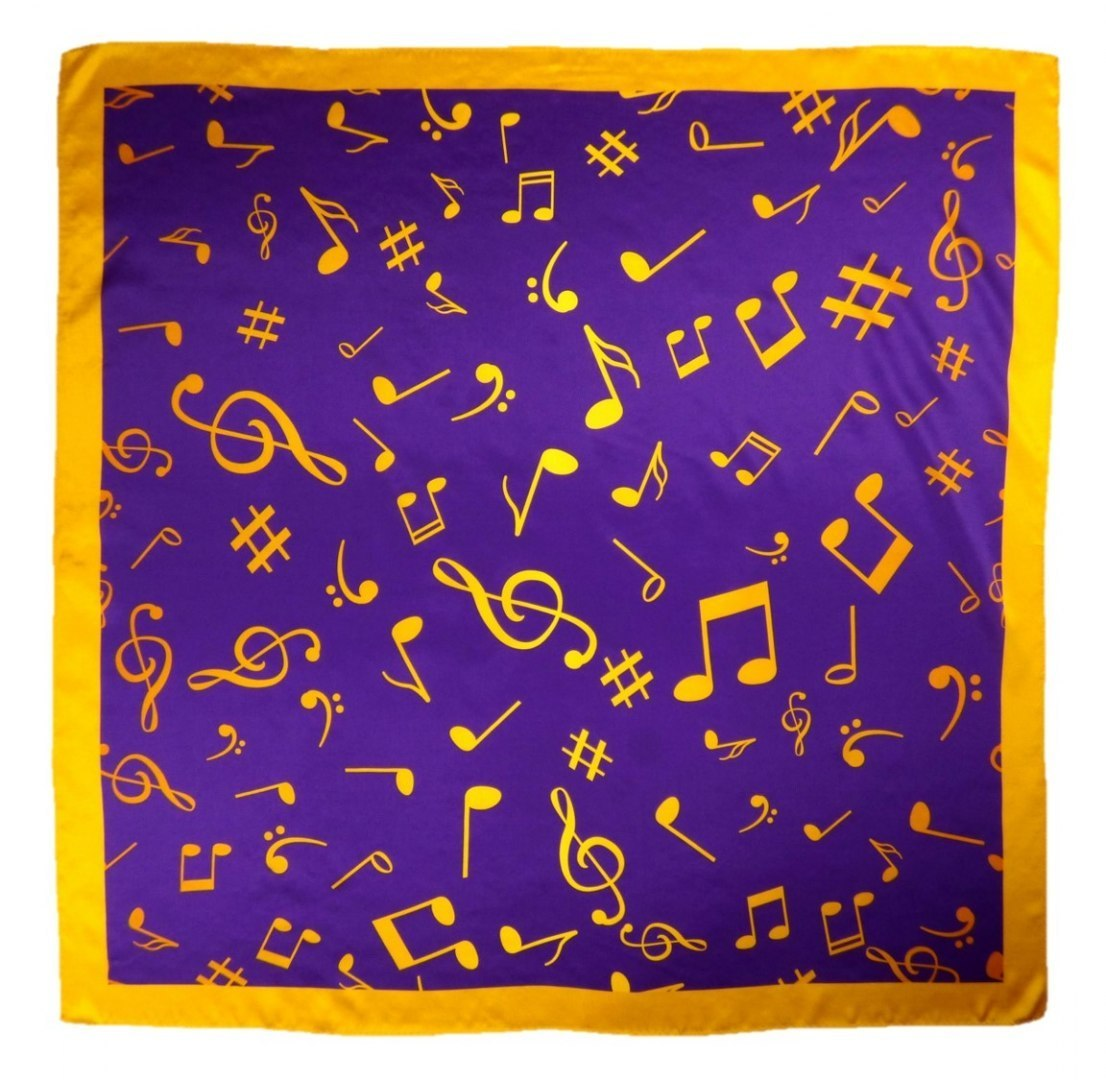 AN-019 Large Silk Scarf with Sheet Music, 85x85 cm