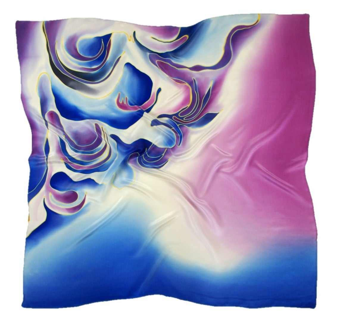 AM-341 Hand-painted silk scarf, 90x90cm