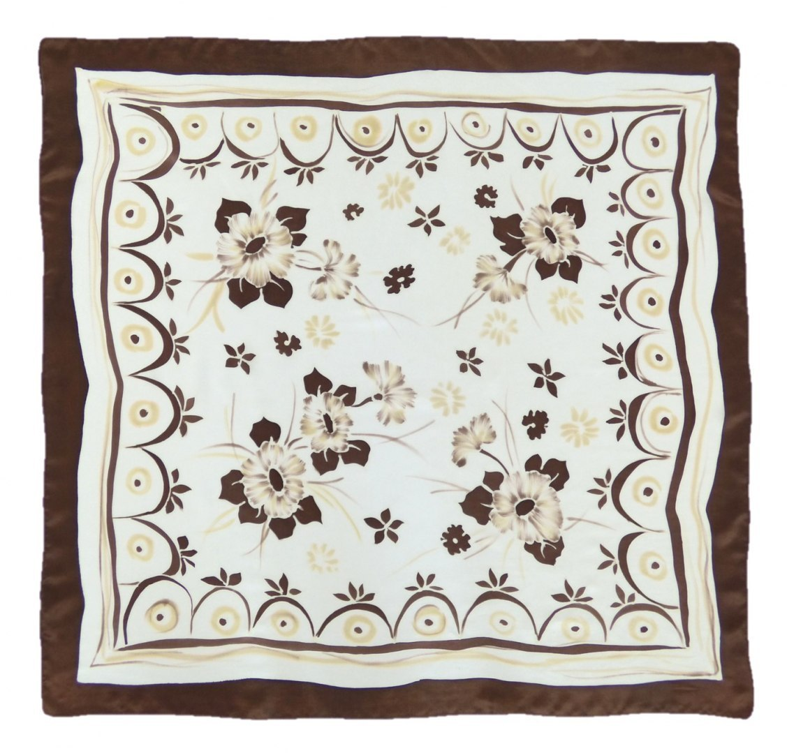 AM-354 Hand-painted silk scarf, 90x90cm