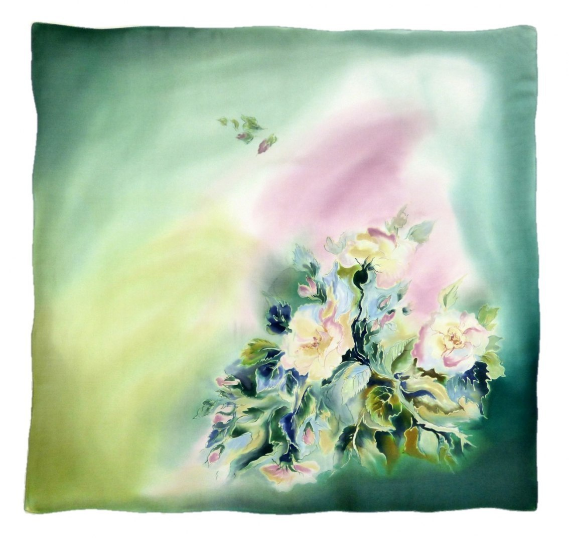 AM-360 Hand-painted silk scarf, 90x90cm (2)