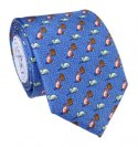 Blue silk tie with cats - MILANO