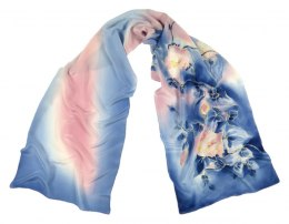 Blue-Pink Hand Painted Silk Scarf, 170x45 cm