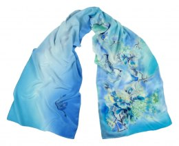 Blue-blue Hand Painted Silk Scarf, 170x45 cm