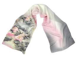 Small Pink and Gray Hand-Painted Silk Scarf, 135x30cm