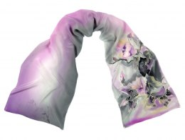 Small Purple-Gray Hand-Painted Silk Scarf, 135x30cm