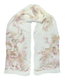 Large Beige Silk Scarf Hand Painted, 220x65cm