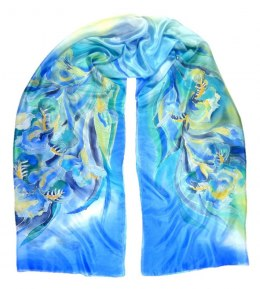 SZM-001 Large Blue Hand-painted Silk Scarf, 250x90 cm