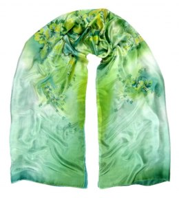 SZM-002 Large Green Hand-Painted Silk Scarf, 250x90cm