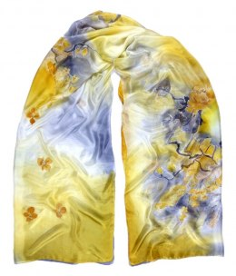 SZM-003 Large Yellow Silk Scarf Hand Painted, 250x90 cm