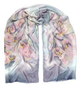 Large gray and pink hand-painted silk scarf, 250x90 cm