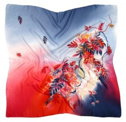 Blue-Red Hand Painted Silk Scarf, 90x90cm