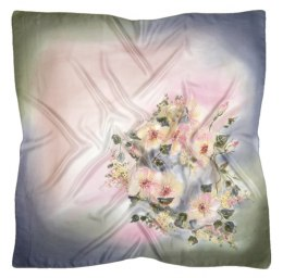 AM-416 Gray-pink Hand Painted Silk Scarf, 90x90cm