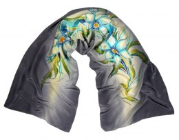SZ-100 Gray Hand Painted Silk Scarf, 170x45 cm