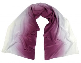 Small Violet and white silk scarf, hand shaded, 170x45cm
