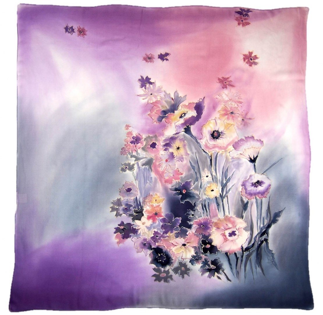 AM-417 Hand-painted silk scarf, 90x90cm (2)