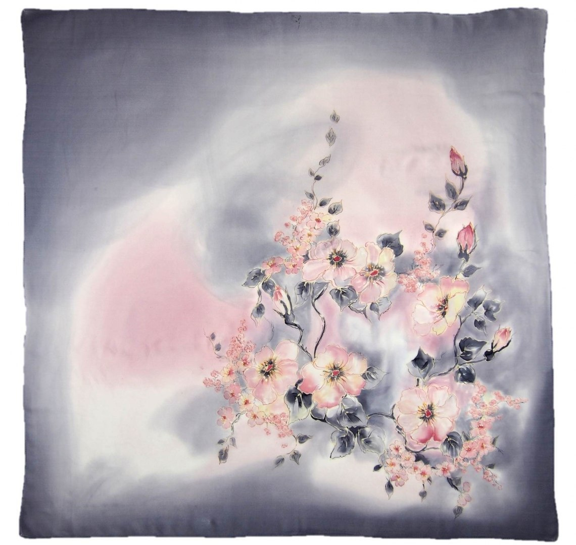 AM-419 Hand-painted silk scarf, 90x90cm (2)