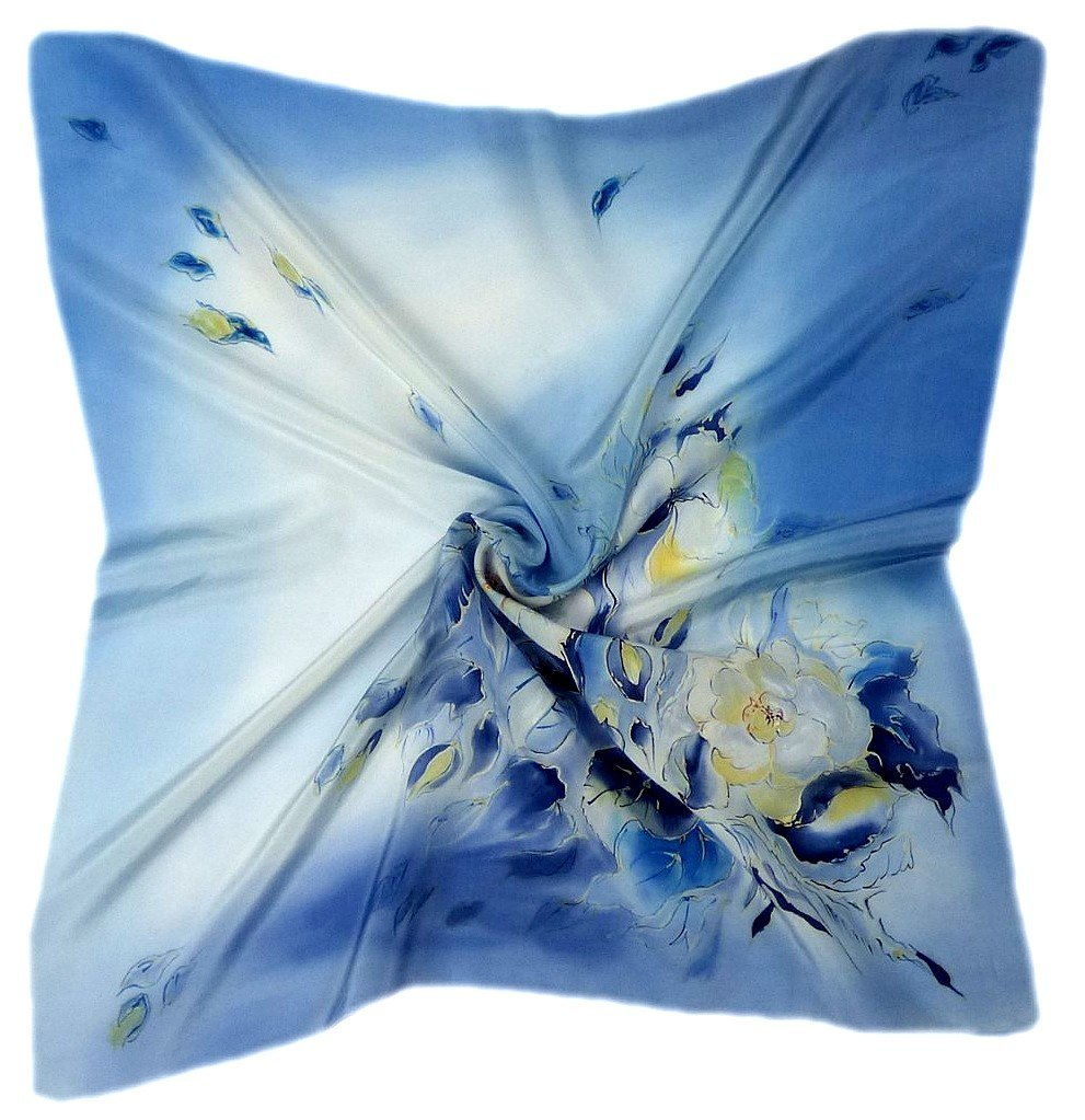 AM7-215 Hand-painted silk scarf, 70x70 cm