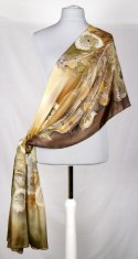 Large Brown Hand-painted Silk Scarf, 250x90 cm (1)