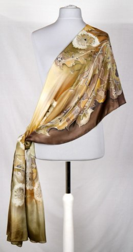 SZM-007 Large Brown Hand-painted Silk Scarf, 250x90 cm