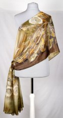 Large Brown Hand-painted Silk Scarf, 250x90 cm (3)