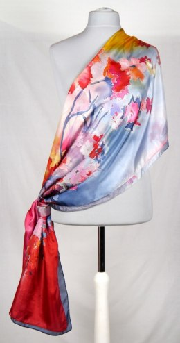 SZM-012 Large Red and Blue Handpainted Silk Scarf, 250x90 cm