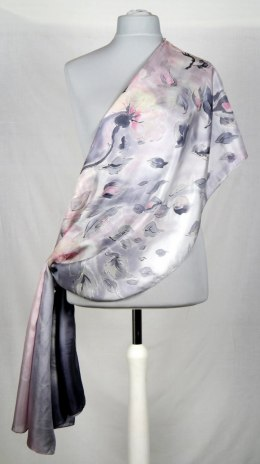 Large Gray Silk Scarf Hand Painted, 250x90 cm
