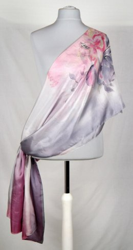 Large Pink and Gray Silk Scarf Hand Painted, 250x90 cm