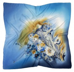 AM-420 Blue Hand Painted Silk Scarf, 90x90cm