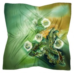 AM-422 Green Hand Painted Silk Scarf, 90x90cm