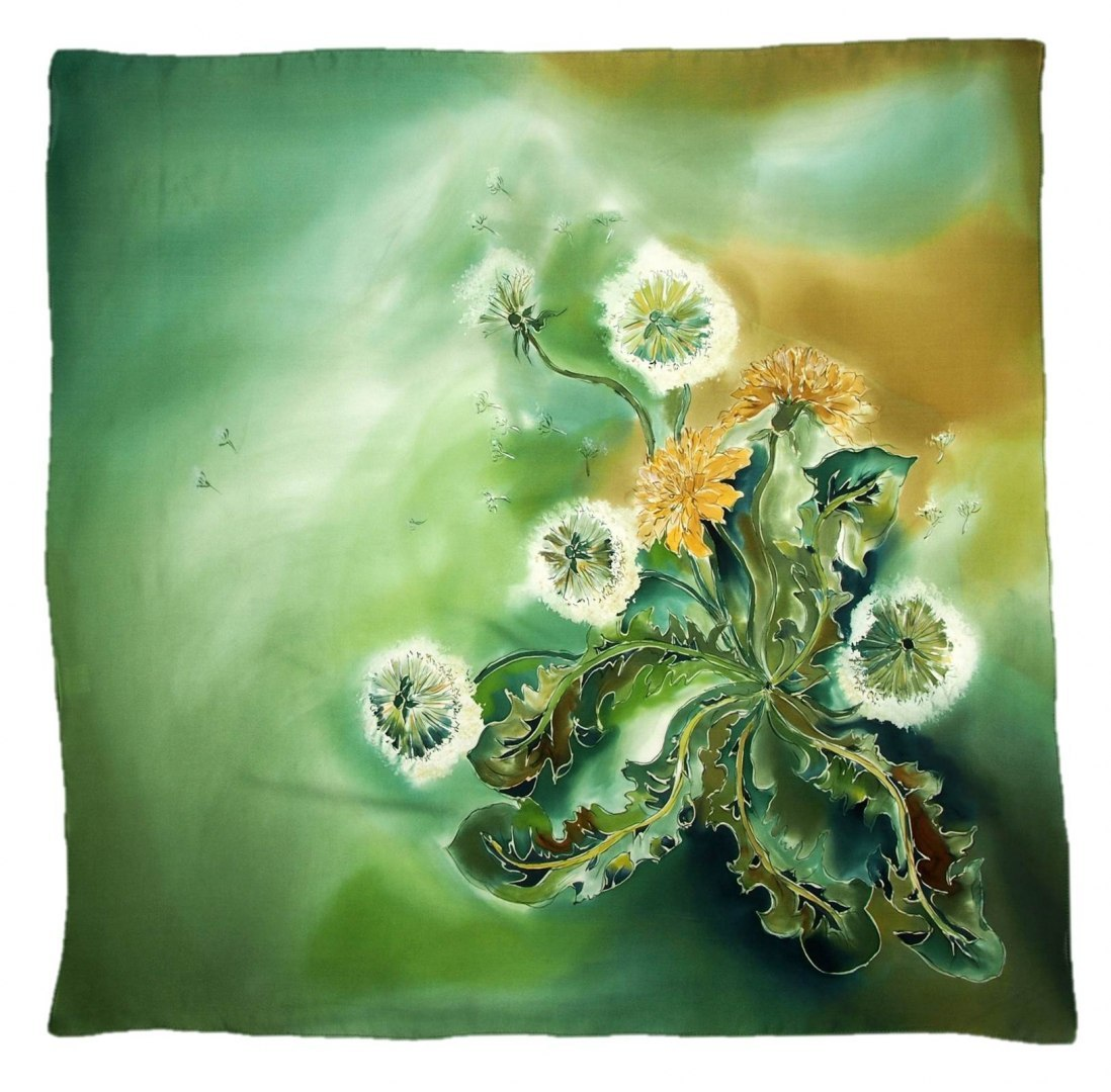 AM-422 Hand-painted silk scarf, 90x90cm (2)