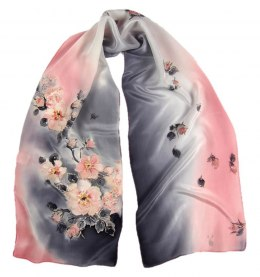 Small Gray-Pink Hand-Painted Silk Scarf, 135x30cm