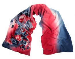SZ-286 Blue-Red Hand Painted Silk Scarf, 170x45 cm