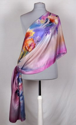 SZM-022 Large Violet and Navy Blue Silk Scarf Hand-painted, 250x90 cm