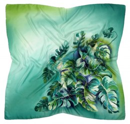 AM-425 Green Hand Painted Silk Scarf, 90x90cm