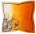 AM-607 Hand-painted silk scarf, 90x90cm
