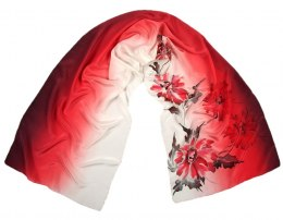 SZ-091 White-Red Hand Painted Silk Scarf, 170x45 cm