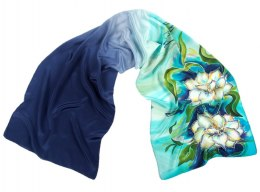 SZ-097 Blue-green silk scarf hand-painted, 170x45 cm