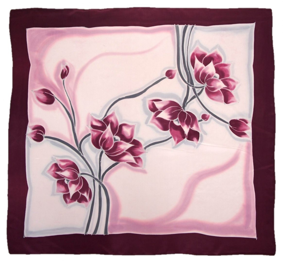 AM-476 Hand-painted silk scarf, 90x90cm