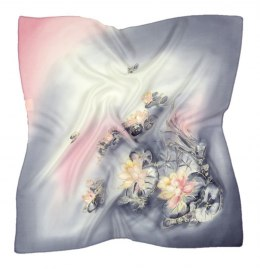 AM-480 Gray-pink Hand Painted Silk Scarf, 90x90cm