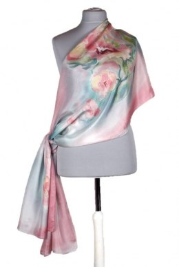 Large aquamarine-pink hand-painted silk scarf, 250x90 cm