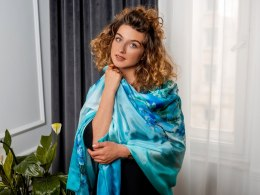 Large Cobalt Hand-Painted Silk Scarf, 250x90 cm